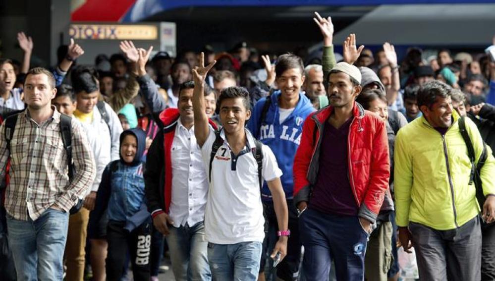 Refugiados a su llegada a Alemania