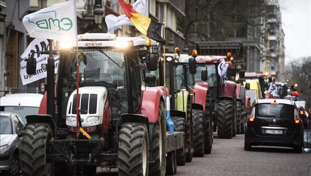 Los tractores llegan en masa a Bruselas en protesta por el precio de la leche