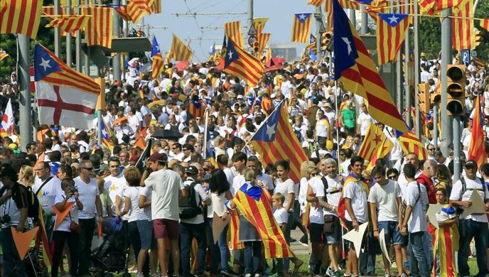 Manifestación Via Lliure convocada por las plataformas independentistas