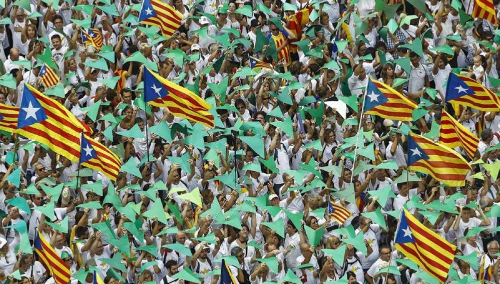 Vista de la manifestación con motivo de la Diada de Cataluña