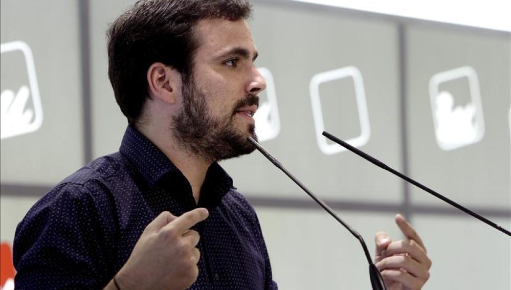 Alberto Garzón, durante un acto de su partido