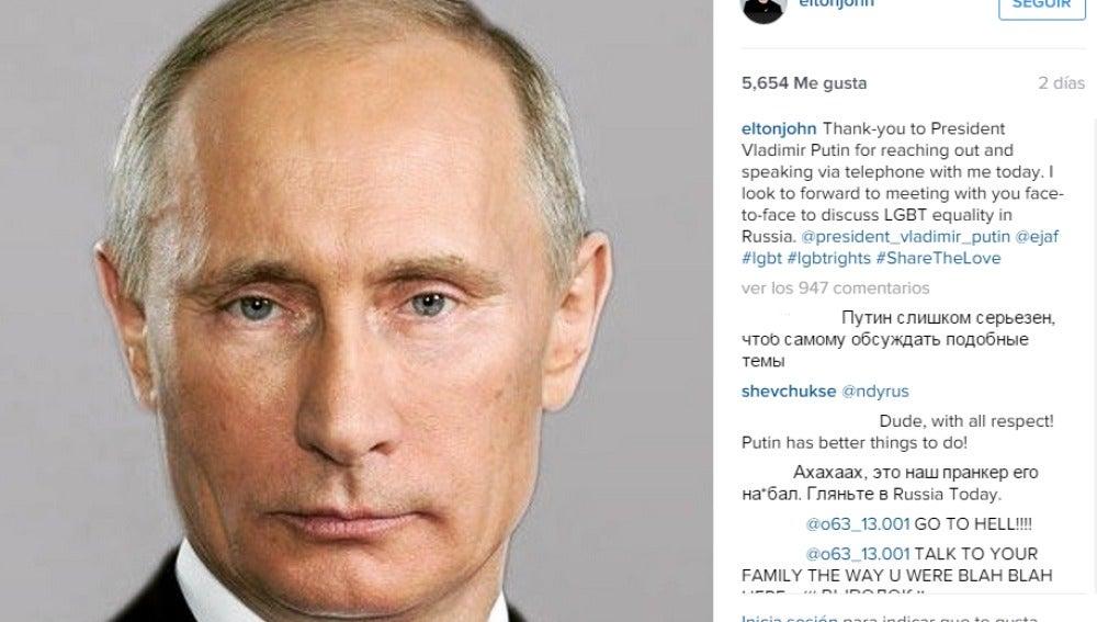 Publicación de Elton Jhon en Instagram tras la broma telefónica