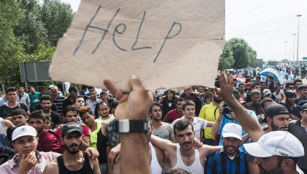 Refugiados en la frontera de Serbia