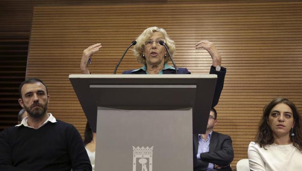Manuela Carmena, durante la rueda de prensa ofrecida en el Ayuntamiento de Madrid