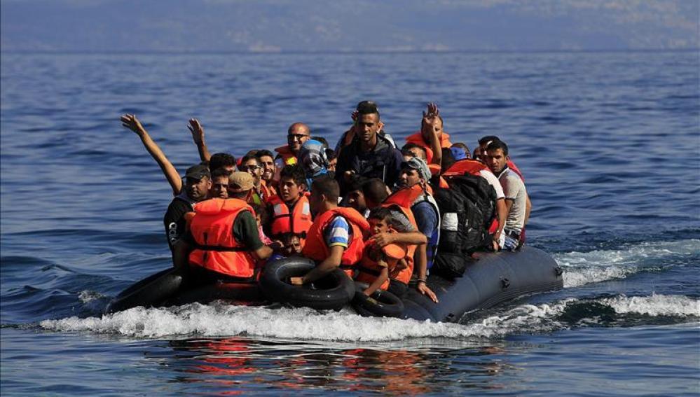 Refugiados a su llegada a la isla de Lesbos