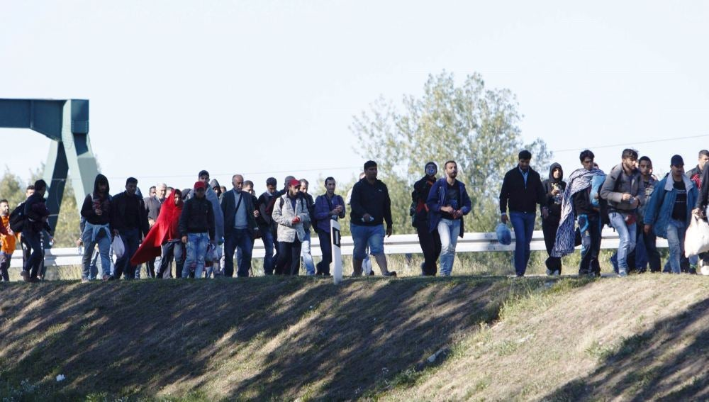 Refugiados caminan hacia Hungría en la región de Botovo en Croaci