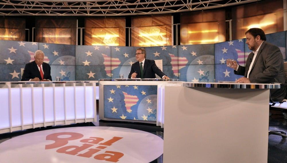 José Manuel García-Margallo, y el presidente de ERC en el debate.