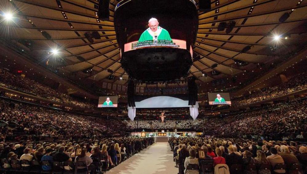 El papa en su discurso en el Madison square garden