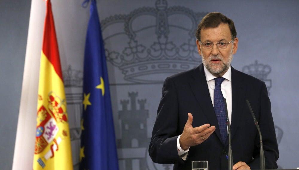 Mariano Rajoy, durante su comparecencia en el Palacio de La Moncloa