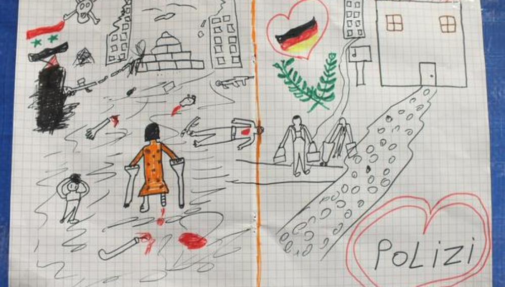 Dibujo que el niño sirio entregó a la policía alemana