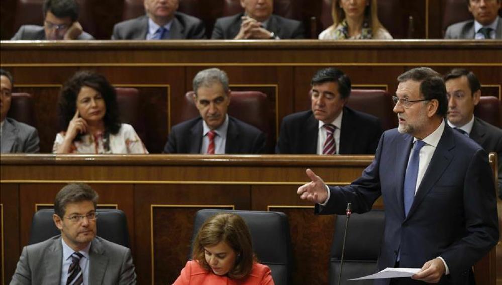 El presidente del Gobierno, Mariano Rajoy, durante su intervención en el Congreso