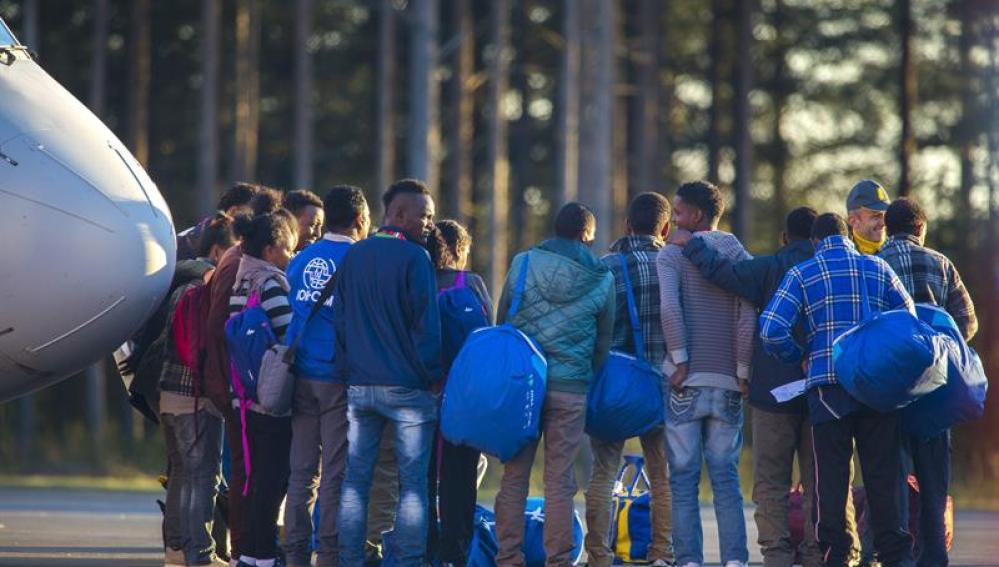 Un grupo de refugiados en Suecia
