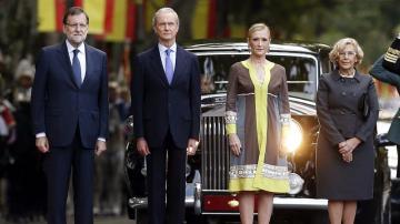 Mariano Rajoy, Pedro Morenés, Cristina cifuentes y Manuela Carmena en el día de la Fiesta Nacional
