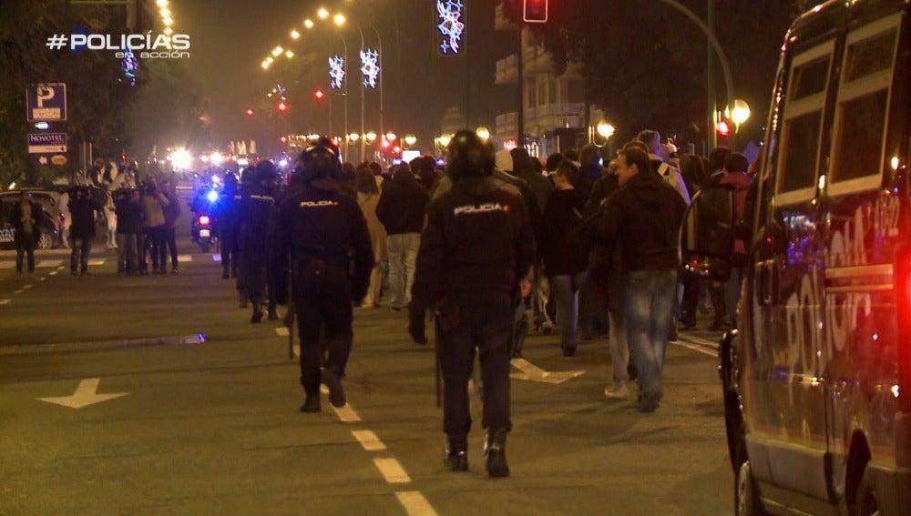 La Policía escolta a los aficionados del Rijeka hasta el estadio