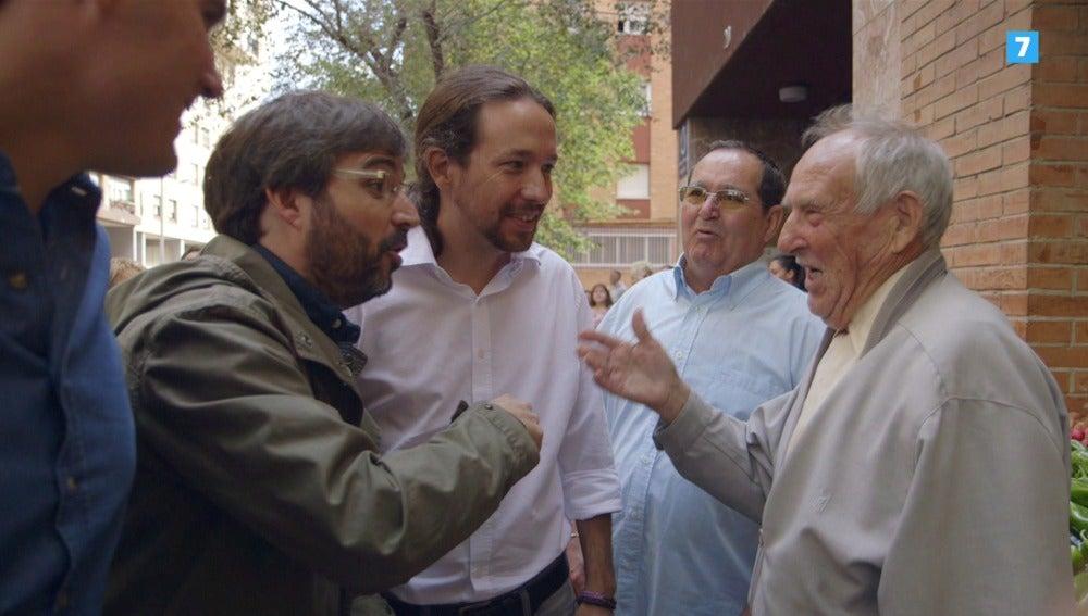 Jordi Évole pasea junto a Albert Rivera y Pablo Iglesias