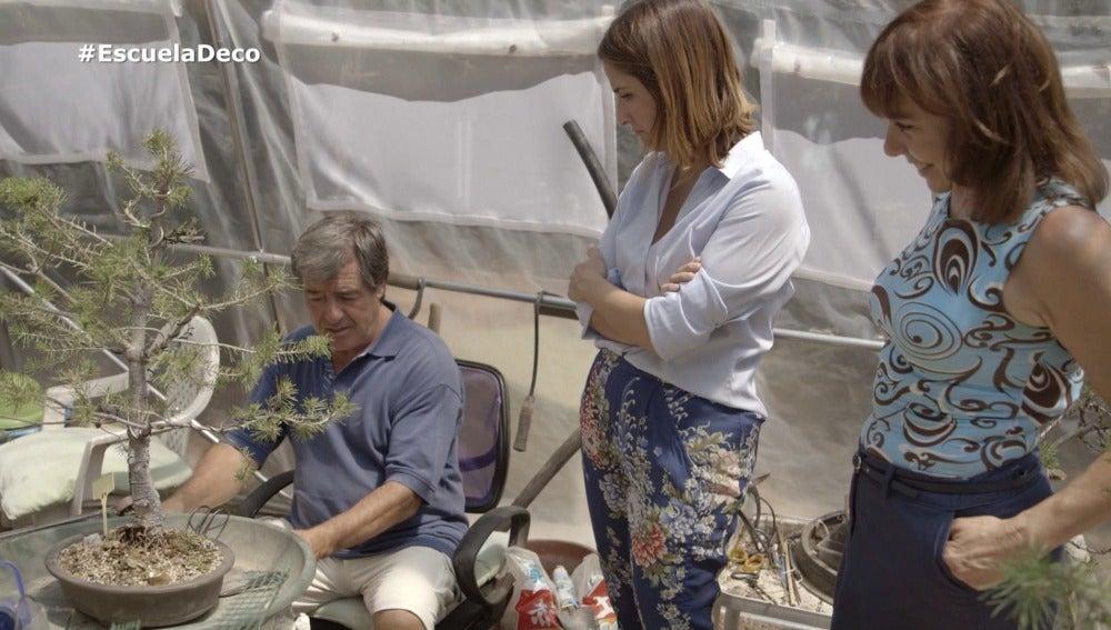 Ángel busca un espacio más cómodo para sus bonsais