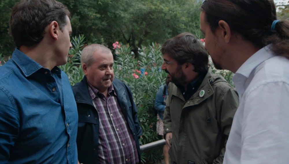 Un ciudadano se encuentra con Pablo Iglesias, Albert Rivera y Jordi Évole