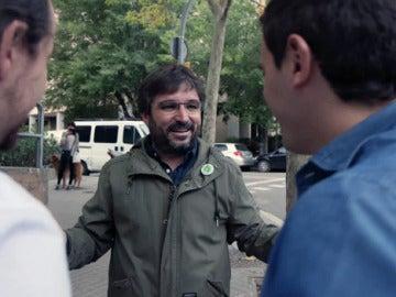 Pablo Iglesias, Albert Rivera y Jordi Évole, en Salvados
