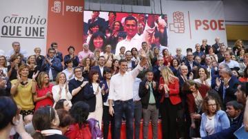 Pedro Sánchez durante la presentación de las candidaturas socialistas