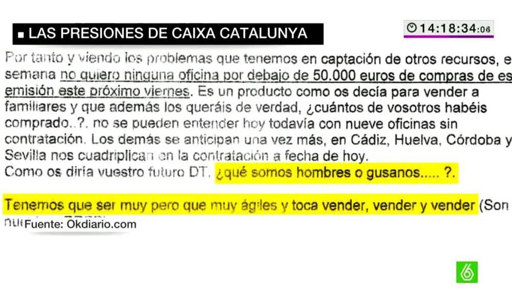 Presiones de Caixa Catalunya para vender preferentes