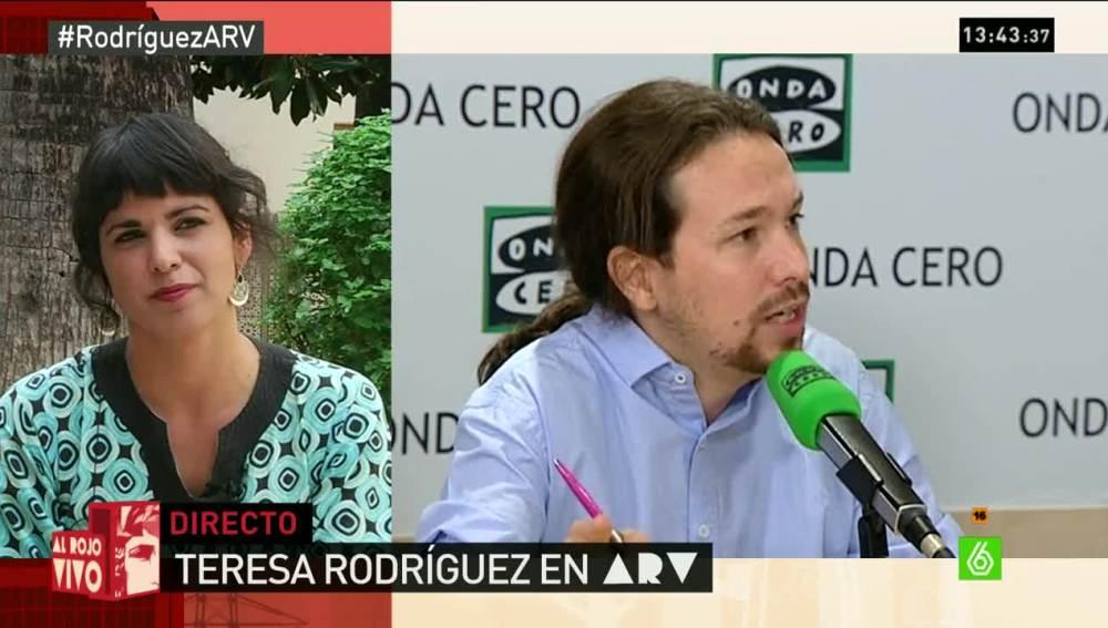Teresa Rodríguez con Pablo Iglesias en arv