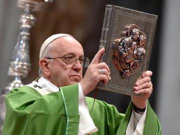El papa Francisco en la misa de clausura del Sínodo