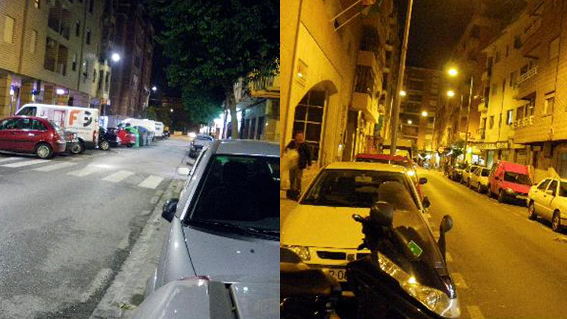 Una calle iluminada con luz blanca (lumi