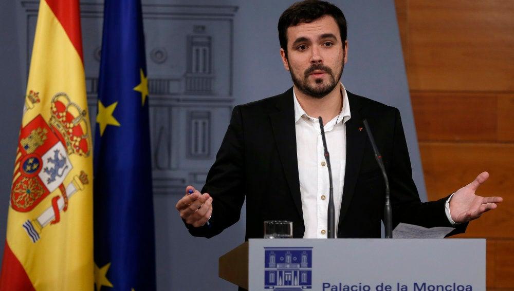 Alberto Garzón, en el Palacio de la Moncloa