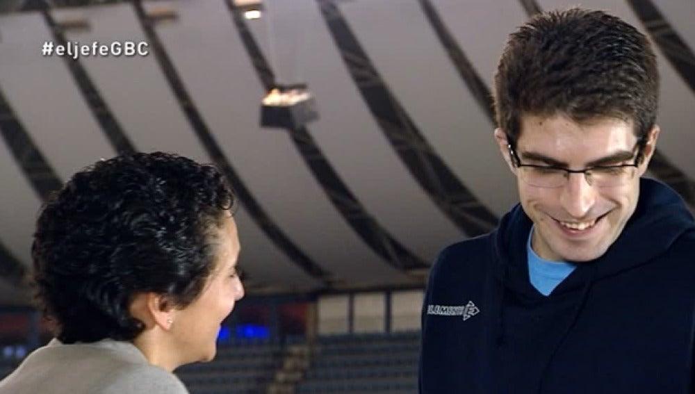 Cristina Gabilondo se reencuentra con el delegado del Gipuzkoa Basket