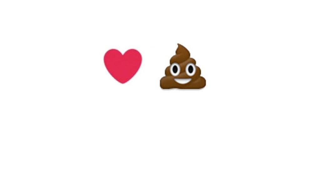 Corazón Twitter vs caca WhatsApp