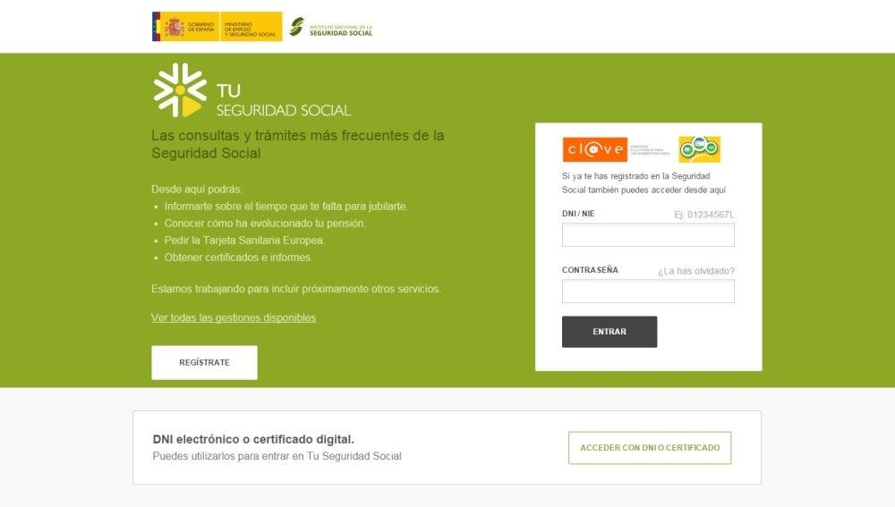 Imagen de la web Tu Seguridad Social