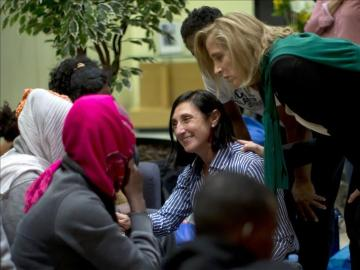 Un grupo de refugiados recién llegados a España