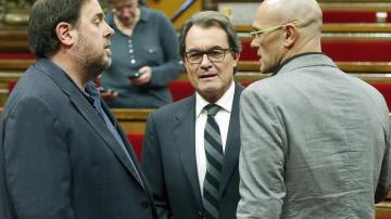 Oriol Junqueras, Artur Mas y Raül Romeva