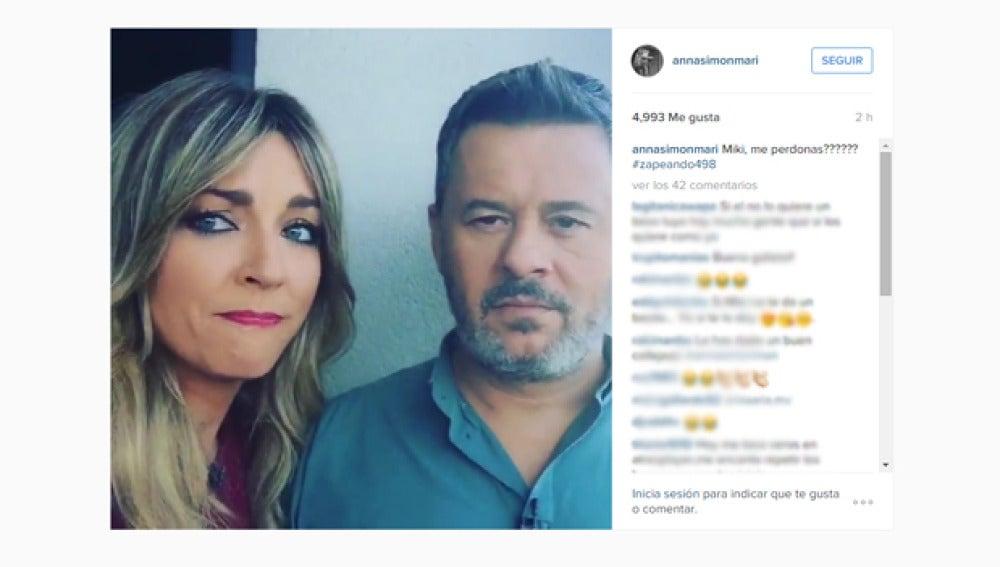 Anna Simon pide perdón a Miki Nadal tras darle una colleja