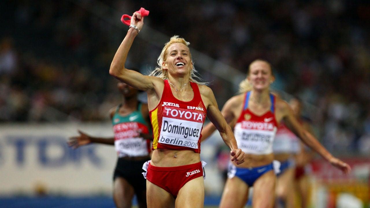 Marta Domínguez celebra una victoria
