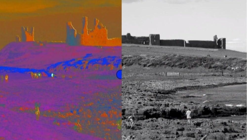 El castillo de Dunstanburgh en color y en blanco y negro