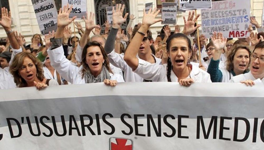 Manifestación de farmacéuticos en Cataluña