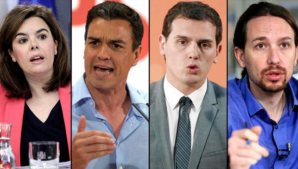 Los participantes del debate político a cuatro en Atresmedia