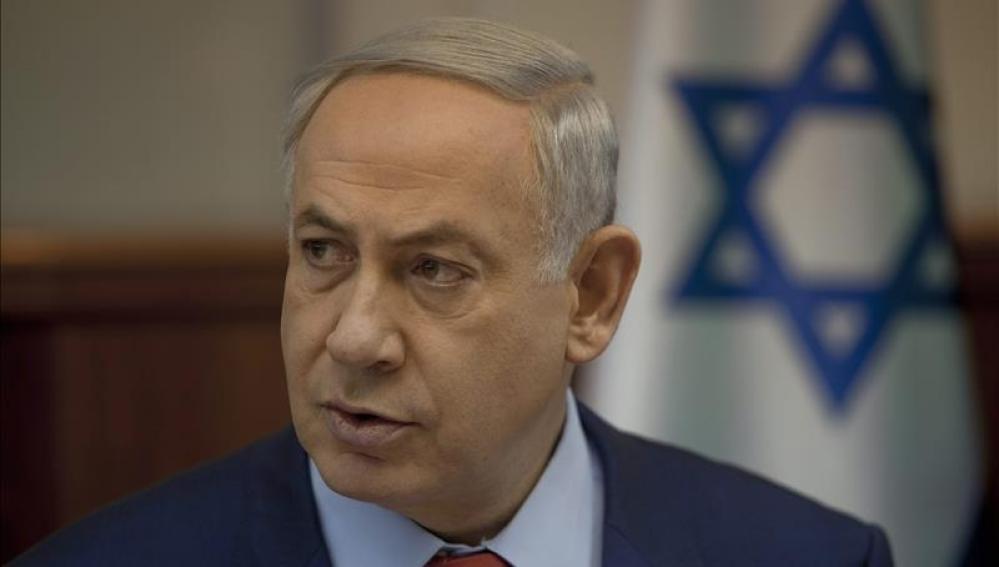Benjamin Netanyahu, primer ministro israelí, en una rueda de prensa