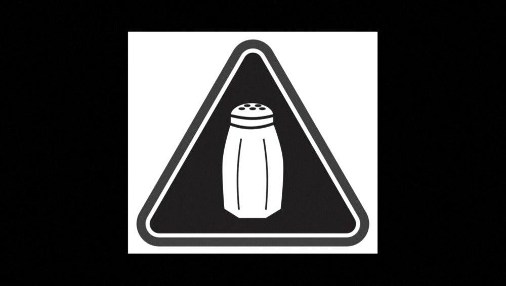 Símbolo que advierte del exceso de sal en las comidas