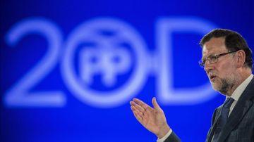 Mariano Rajoy, durante un acto de campaña