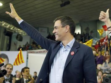 Pedro Sánchez en un acto de campaña electoral
