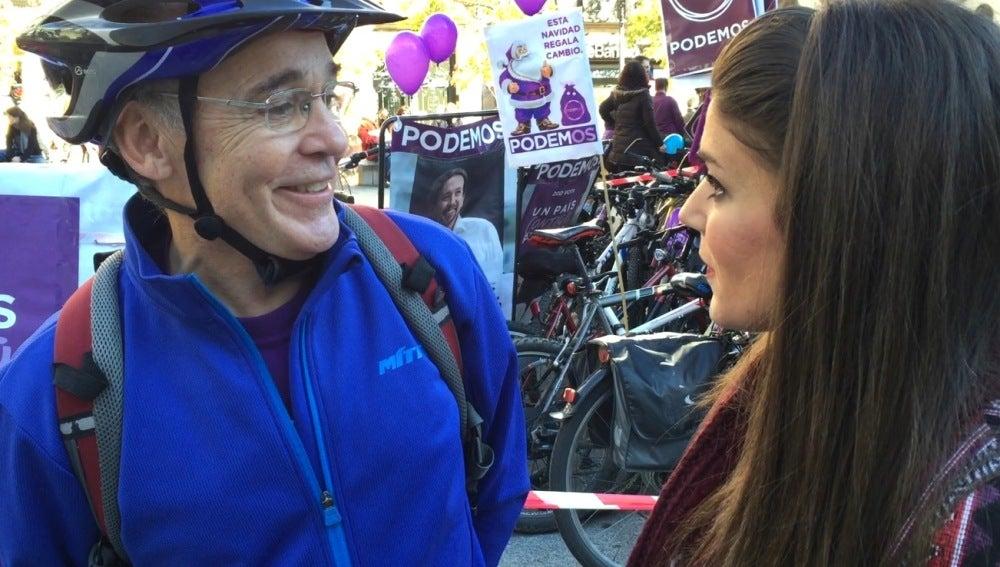 Lorena Baeza en un acto de apoyo de Podemos