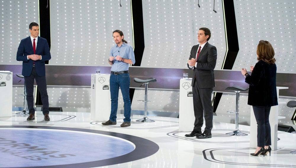 Sánchez, Iglesias, Rivera y Santamaría, en el debate 7D