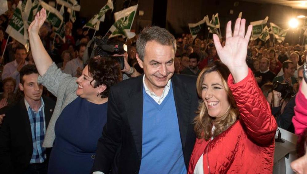 La presidenta del PSOE de Andalucía, Susana Diaz y el expresidente del Gobierno