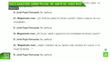 La declaración de Jordi Jr. ante el juez Ruz