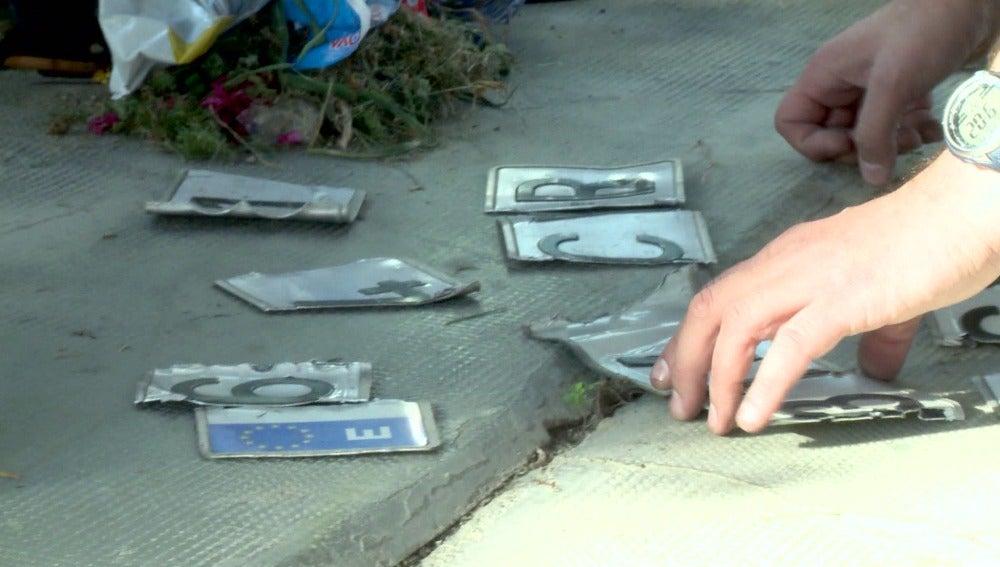Los agentes de Comandancias encuentran matrículas cortadas
