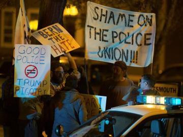 Imagen de algunos manifestantes contra la policía en EEUU