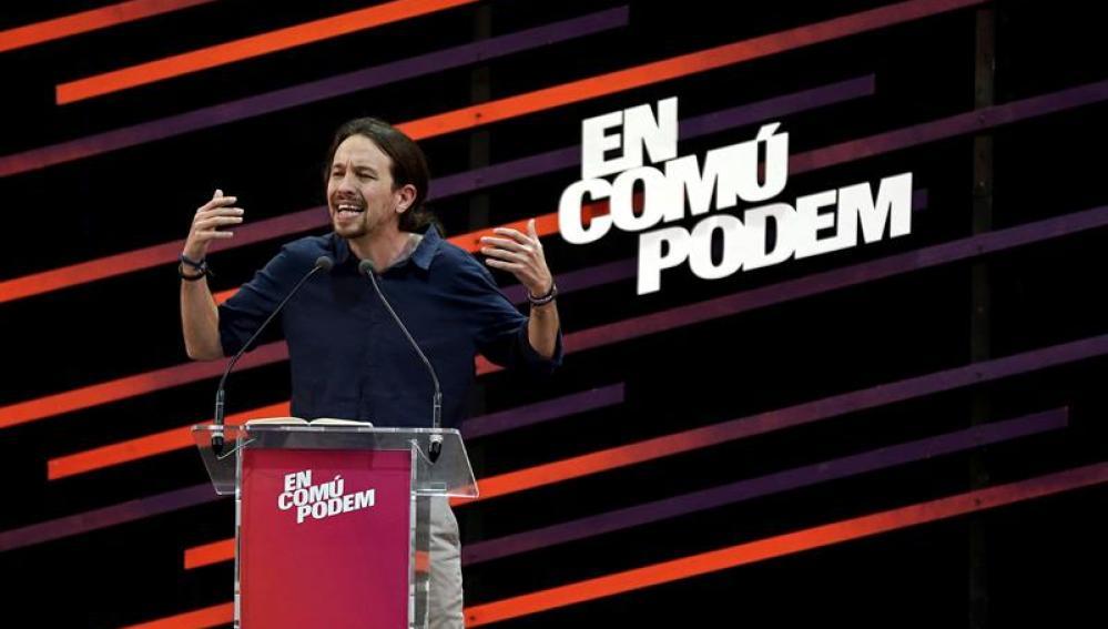 Pablo Iglesias en un acto de campaña en Badalona