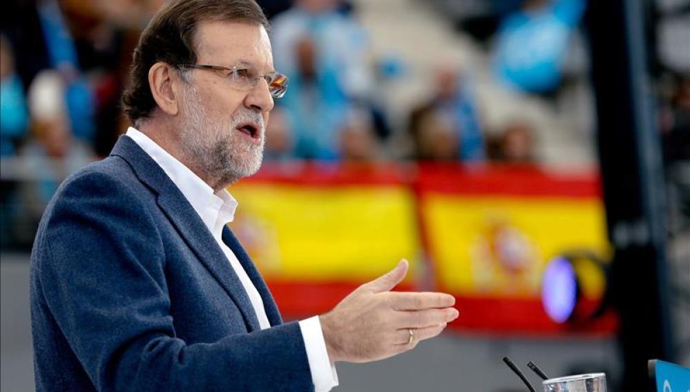 Mariano Rajoy en el acto central de campaña electoral